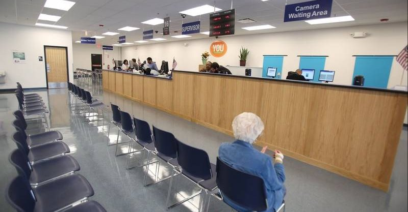 Empty chairs at the DMV