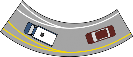 Traffic left and right lane markers splitting
