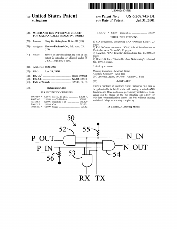 Cover page of a patent
